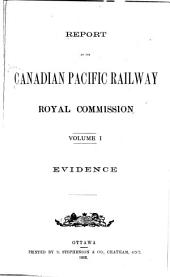 Report of the Canadian Pacific Railway Royal Commission: Volume 1