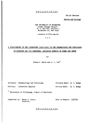 A Bibliography of the Literature  1936 1952  on the Pharmacology and Toxicology of Fluorine and Its Compounds
