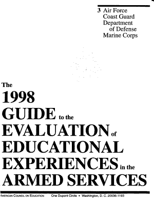1998 Guide to the Evaluation of Educational Experiences in the Armed Forces PDF