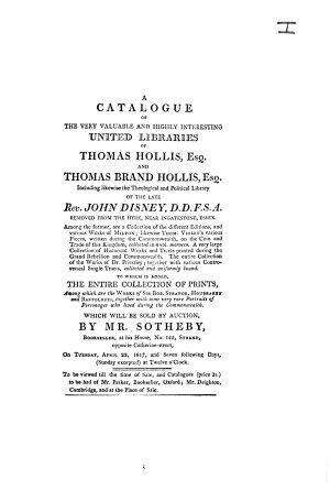Auction catalogue, books of Thomas Hollis ... [et al.], 22 to 30 April 1817
