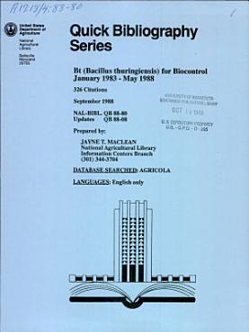 Bt  Bacillus Thuringiensis  for Biocontrol  January 1983 May 1988 PDF
