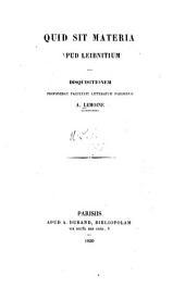 Quid sit materia apud Leibnitium