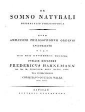 De somno naturali dissertatio philosophica
