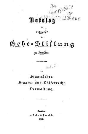 Katalog der Bibliothek der Gehe Stiftung zu Dresden PDF
