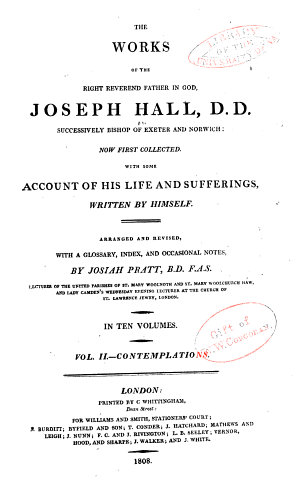 The Works of Joseph Hall  Contemplations on the Old and New Testaments