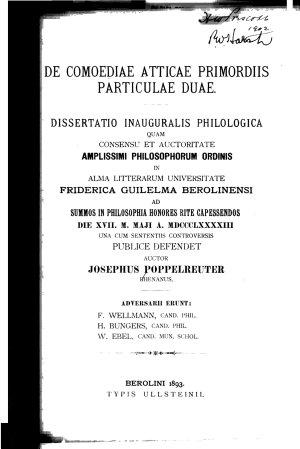 De comoediae Atticae primordiis particulae duae PDF