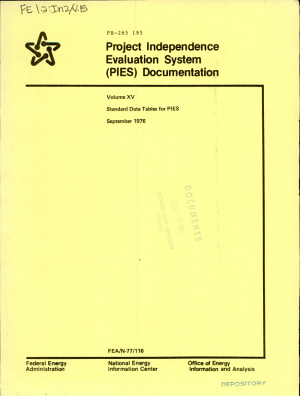 Project Independence Evaluation System  PIES  Documentation  Standard data tables for PIES PDF
