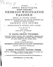 Geo. Wolfg. Panzero ad 50 muneris sacri annum gratulatur Georgius Wolfg. Franz Panzer