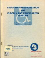 Study on Transportation for Elderly and Handicapped Persons in Response to Section 2052  Chapter 34  Laws of 1979 PDF