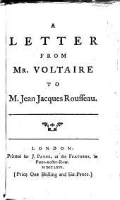 A letter ... to m. Jean Jacques Rousseau