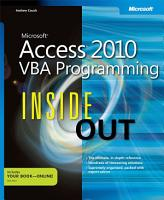 Microsoft Access 2010 VBA Programming Inside Out PDF
