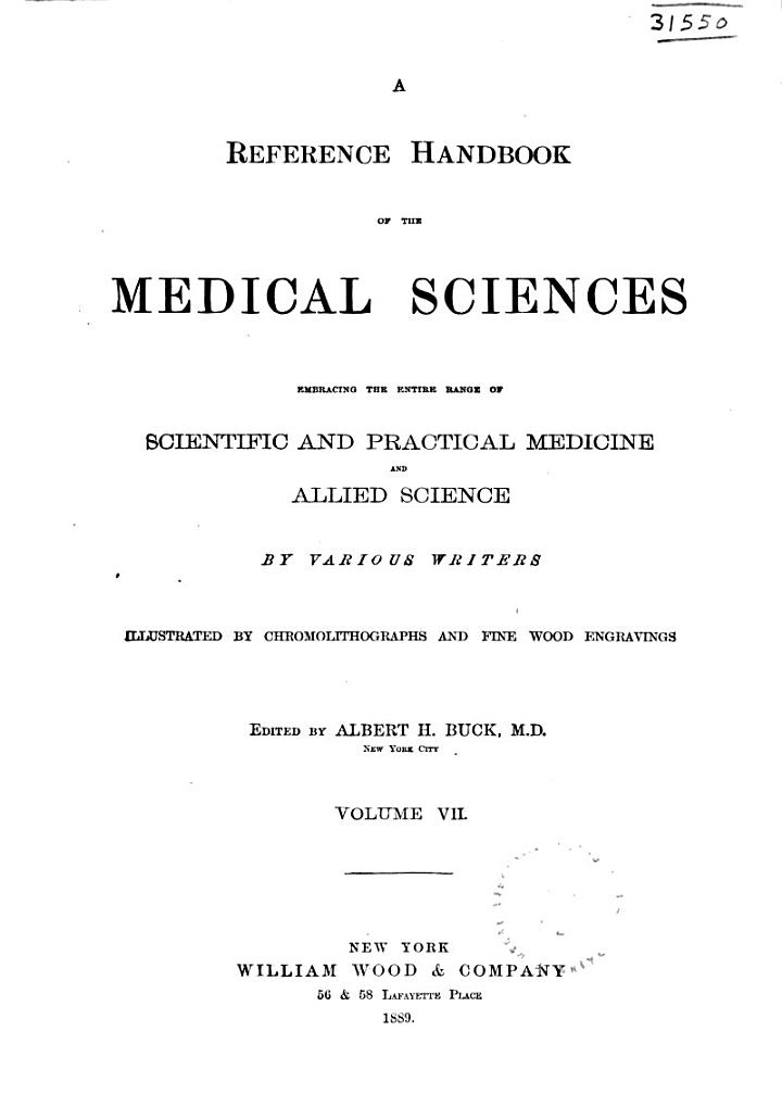 A Reference Handbook of the Medical Sciences