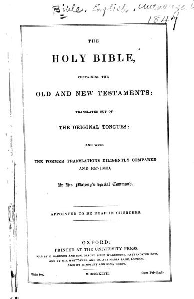 Download The Holy Bible  Containing the Old and New Testaments Book