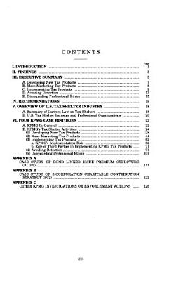 U S  Tax Shelter Industry  the Role of Accountants  Lawyers  and Financial Professionals PDF