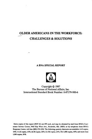 Older Americans in the workforce PDF