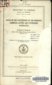 Notes on the life history of the minnows Gambusia affinis and cyprinodon variegatus: Volumes 854-861