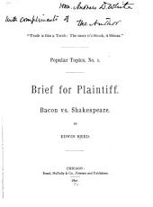 Brief for the Plaintiff: Bacon Vs. Shakespeare