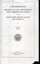 Information Relative to the Appointment and Admission of Cadets to the United States Military Academy  West Point  N Y  PDF