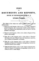 Index to Documents and Reports  House of Representatives U S   1789 1839     PDF
