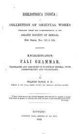 Kachchayano's Pali grammar