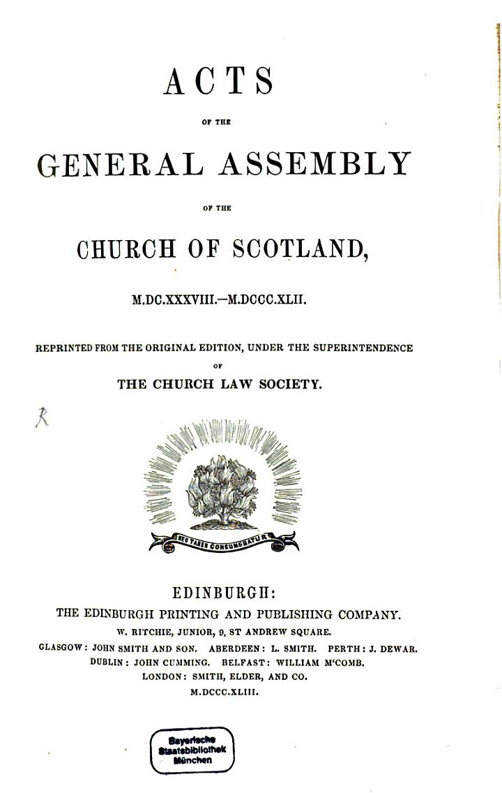 Acts of the general assembly of the church of Scotland, 1638-1842