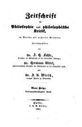 Zeitschrift für Philosophie und philosophische Kritik: Bände 37-38
