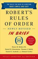 Robert s Rules of Order Newly Revised In Brief  3rd edition