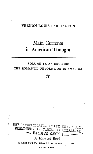 Main Currents in American Thought  The romantic revolution in America  1800 1860 PDF