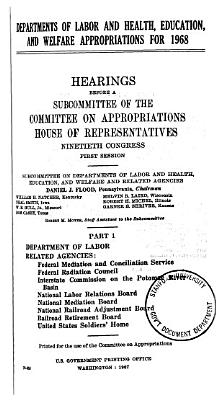Departments of Labor and Health  Education  and Welfare Appropriations for 1968 PDF