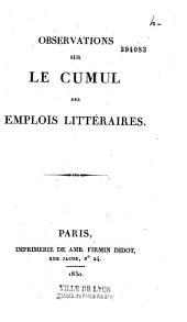 Observations sur le cumul des emplois littéraires