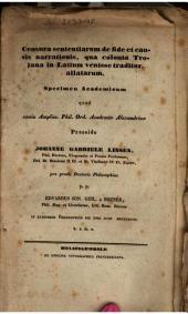 Censura sententiarum de fide et causis narrationis, qua colonia Trojana in Latium venisse traditur, allatarum: Specimen Academicum