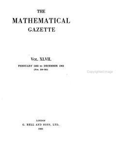 The Mathematical Gazette PDF