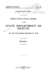 Annual Report: Volume 1; Volume 39, Part 1