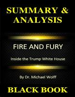Summary   Analysis   Fire and Fury   Inside the Trump White House By Dr  Michael Wolff PDF