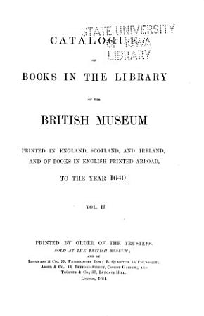 Catalogue of Books in the Library of the British Museum PDF