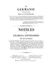La Germanie, traduite de Tacite par C. L. F. Panchoucke: Notices ou examens littéraires de cet ouvrage
