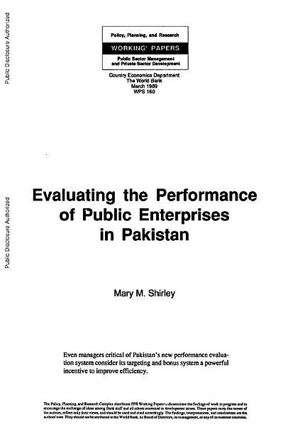 Evaluating the Performance of Public Enterprises in Pakistan PDF