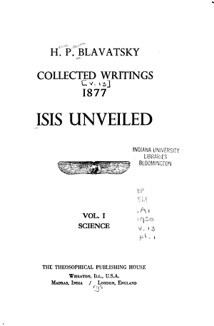 Isis Unveiled  Collected Writings  1877  Science PDF