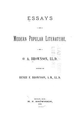 Essays on Modern Popular Literature PDF