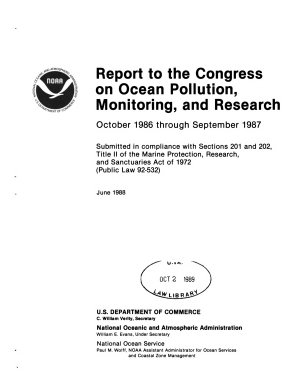 Report to the Congress on Ocean Pollution, Monitoring and Research