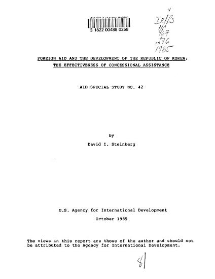 Foreign Aid and the Development of the Republic of Korea PDF