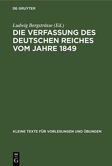 Die Verfassung des Deutschen Reiches vom Jahre 1849 PDF