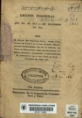 Lección inagural que en el día 12 de diciembre de 1804 dixo el Doctor Don Francisco Salvá ... en cumplimiento de la Real orden de 25 de noviembre del mismo año
