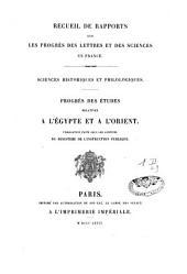 Rapports sur les études historiques: Volume2