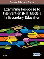 Examining Response to Intervention  RTI  Models in Secondary Education PDF