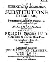 Exercitatio acad. de substitutione exemplari