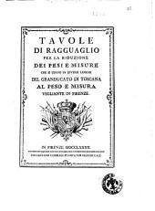 Tavole di ragguaglio per la riduzione dei pesi e misure che si usano in diversi luoghi del Granducato di Toscana al peso e misura vegliante in Firenze