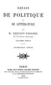 Essais de politique et de littérature: Volume1