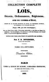 Collection complète des lois, décrets d'intérét général, traités interanationaux, arrêtés, circulaires, instructions, etc: Volumes17à18