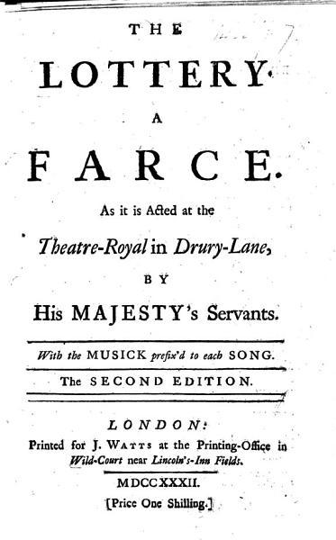 The Lottery A Farce Etc By Henry Fielding
